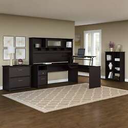 Cabot L Shaped Sit to Stand Desk with Hutch and Storage in Oak
