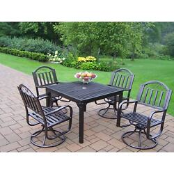 Hometown Outdoor Dining Set with 4 Swivel Chairs