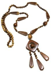 Nohea Hand Crafted Artisan Wooden Ethnic Bohemian Necklace Wood Pendant Jewelry