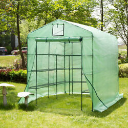 Glitzhome Garden Greenhouse Walk-In Larger Plant House Shed Storage PE Cover Hot