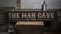 The Man Cave Sign Est Date Sign -Distressed Wooden Sign ENS1001932