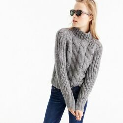 Jcrew Collection Italian cashmere-mohair cable mock neck sweater Gray Sz XS $500