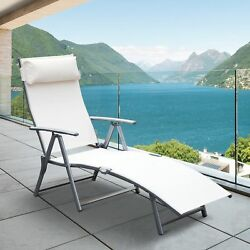 Outdoor Folding Chaise Lounge Chair Recliner Steel Frame White Garden Furniture