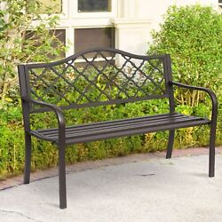 Outdoor Cast Iron Bench Loveseat Brown Finish Metal Frame Garden Patio Furniture