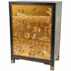 Oriental Furniture Hand Painted 5 Drawer Chest