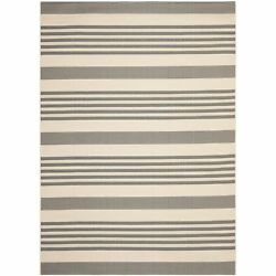 Safavieh Courtyard Stripe Grey Bone Indoor Outdoor Rug - 9' x 12'