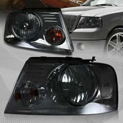 For 2004 2008 Ford F 150 Chrome Housing Smoke Lens Headlights W Clear Reflector $77.99