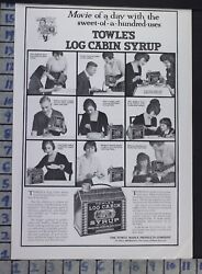 1917 LOG CABIN SYRUP BREAKFAST KITCHEN MAPLE HOME DECOR VINTAGE ART AD  CH98