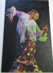 FINEST KEVIN YUEN PAINTING LARGE 48 INCH DANCER CALIFORNIA POP  MUSIC FLAMENCO