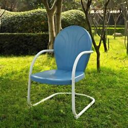 Patio Chair Metal Frame Outdoor Lawn C-Spring Retro Vintage Furniture Green NEW