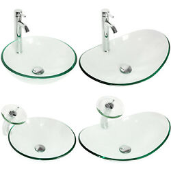 Tempered Glass Vessel Sink Clear Bowl RoundOval Bath Basin Faucet Drain Combo $64.99