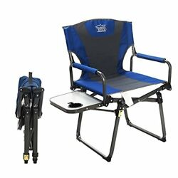 Timber Ridge Director's Chair Camping Folding Easy Carry with Straps Padded Blue