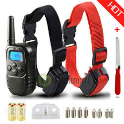Waterproof 1000 Yard 2 Dog Shock Training Collar Pet Trainer with Remote 4 Mode $24.99