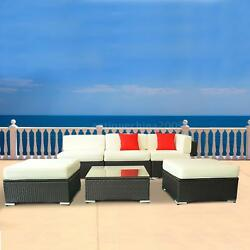 Deluxe Outdoor Rattan Wicker 6 pc Sofa Sectional Furniture Set G9S8