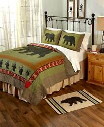 3-Pc. Black Bear Quilt Shams Set FullQueen Lodge Log Cabin Rustic Country Decor