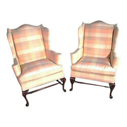 Pair 2 HICKORY CHAIR NC Queen Anne Wing Back Armchair Settee Loveseat Sofa Bed