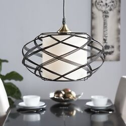 Steel Wire Cage Swirl Contemporary Pendant Lamp Ceiling LED Light Fabric Shade $97.60