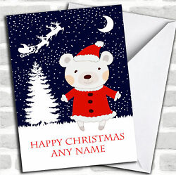 Bear On A Snowy Night Children#x27;s Personalized Christmas Card $6.59