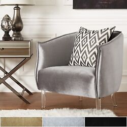 Chair by iNSPIRE Q Bold Vianne Velvet Curved Back Acrylic Leg Accent