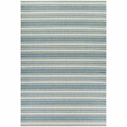 Samantha Sand Stripe Ivory-Blueish Green IndoorOutdoor Rug - 8'6 x 13'