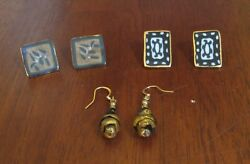 Unbranded costume jewelry gold and black earrings (set of 3)