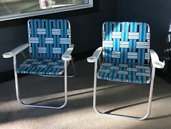 Vintage Folding Aluminum Lawn Chairs with Webbing & Cup Holders Lot of 2 VHTF