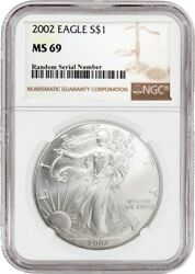 2002 $1 Silver American Eagle NGC MS69