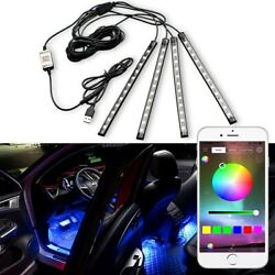 4x RGB LED Under Car Tube Strip Underbody Glow Neon Light Kit Phone Control USB $25.99