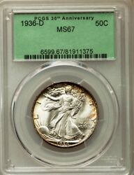 1936-D WALKING LIBERTY HALF DOLLAR 50C PCGS MS67 WOW COIN! PG = $4500!