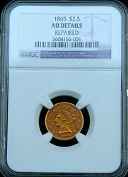 1865 Liberty Gold Quarter Eagle $2 12 $2.5 NGC AU Details Rare Civil War Issue