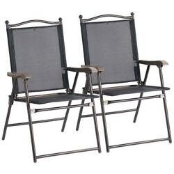 Set of 2 Folding Sling Back Chairs Indoor Outdoor Camping Chairs Garden Patio Po