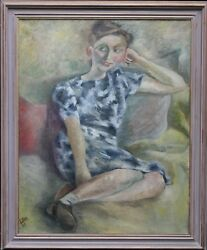 ALFRED LOMNITZ JEWISH PORTRAIT SMILING GIRL OIL PAINTING EXHIBITED 1892-1953