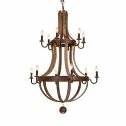 Rustic Kitchen Pendant Wine Barrel Stave Wood&Metal Chandelier with Candle Light