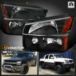 Black For 2002 2006 Chevy Avalanche 1500 2500 HeadlightsSignal Bumper Lamps $98.38