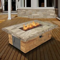 Cal Flame Cultured Stone and Tile Rectangle Steel Propane Fire Pit Table