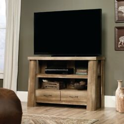 Rustic Wood TV Console Media Stand with Drawers Shelves Log Cabin Style Decor