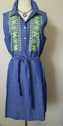 Uncle FrankIvy Jane Casual Shirt-dress with embroidery details- Blue Size Large $52.50
