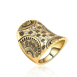 Retro Vintage Gold Plated Carved Sun Midi Knuckle Ring Wedding Ring Size 6-9