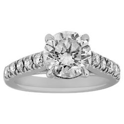 2.75 CT Round cut 14K white gold diamond engagement ring D SI1 CERTIFIED