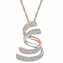 0.20 CT. Diamond Interlaced Swirl Pendant in 14K Two-Tone White and Rose Gold