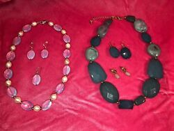 Costume jewelry 2 necklaces w3 pair matching pierced earrings;teal iridescent