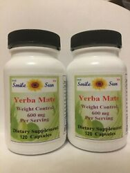 (2)Top Quality Yerba Matesuper weight control 600mg serving 2X120 capsules