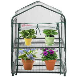 2 Tier Mini Portable Plant Greenhouse with Clear Cover Garden House with Casters