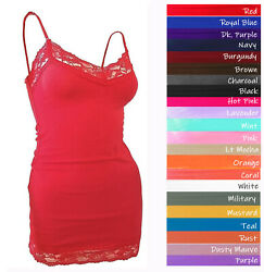 lt;Bozzologt; Lace Tank Top Adjustable Spaghetti Strap Cami V neck Layering Tank Top $12.99