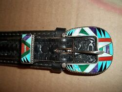 Zuni Inlay Stone Buckle Set Sterling Silver Tooled Leather Belt Mens Vintage