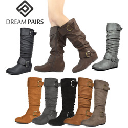DREAM PAIRS Womens Wide Calf Knee High Low Hidden Wedge Slouch Buckle Boots 5 11 $34.19