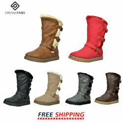 DREAM PAIRS Kids Girls Toddler Faux Fur Lined Fashion Mid Calf Winter Snow Boots $13.99