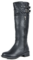 DREAM PAIRS US Womens Wide Calf Low Heel Military Combat Knee High Riding Boots $31.80