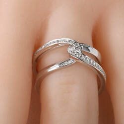 Infinity 925 Silver Rings for Women Jewelry Round Cut White Sapphire Size 6-10