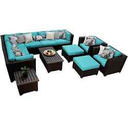 Meridian 12 Piece Outdoor Patio Wicker Sectional Set with End Table